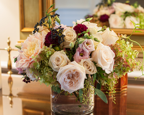 Bouquets for any occasion; pink roses, hydrangeas, carnations, lisanthus and eucalyptus