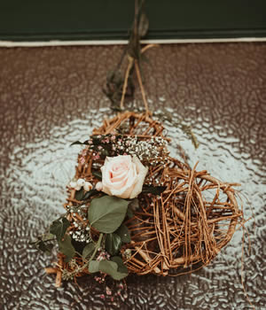 Wicker heart with a  rose