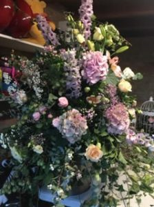 Tall floral arrangement for wedding near Bury St Edmunds