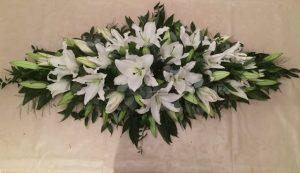 White lilies and eucalyptus